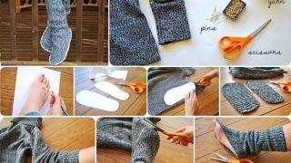 Kućne čarape od starog džempera