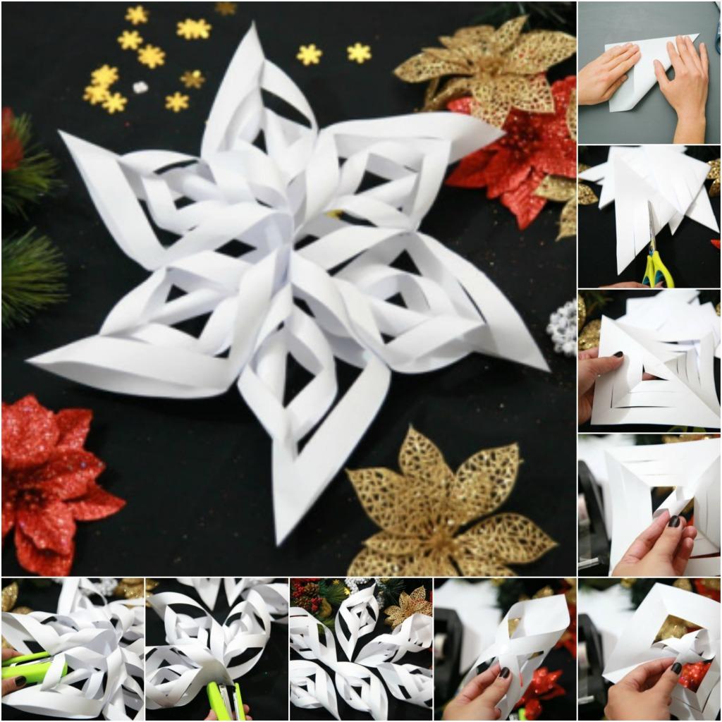 Novogodišnji ukrasi od papira – uradi sam-3D pahulja