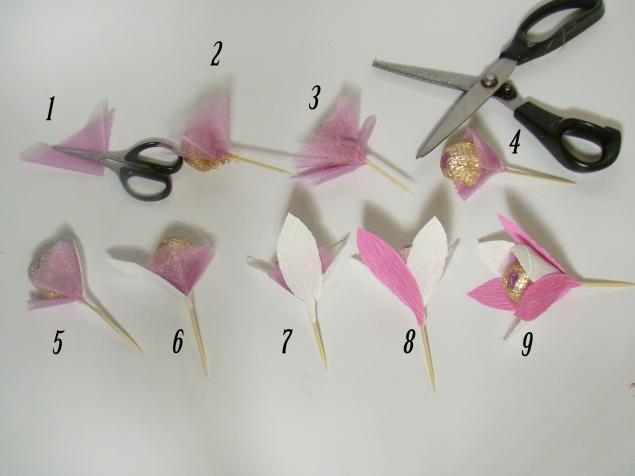 Čokoladni poklon - buket: postupak izrade cvetova.