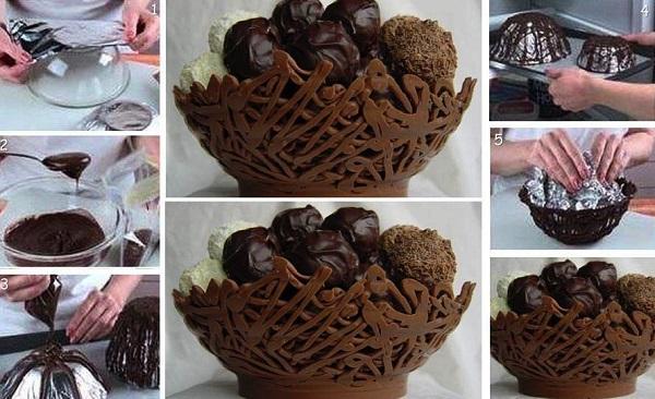 Desert: domaća čokolada - jestiva korpica.