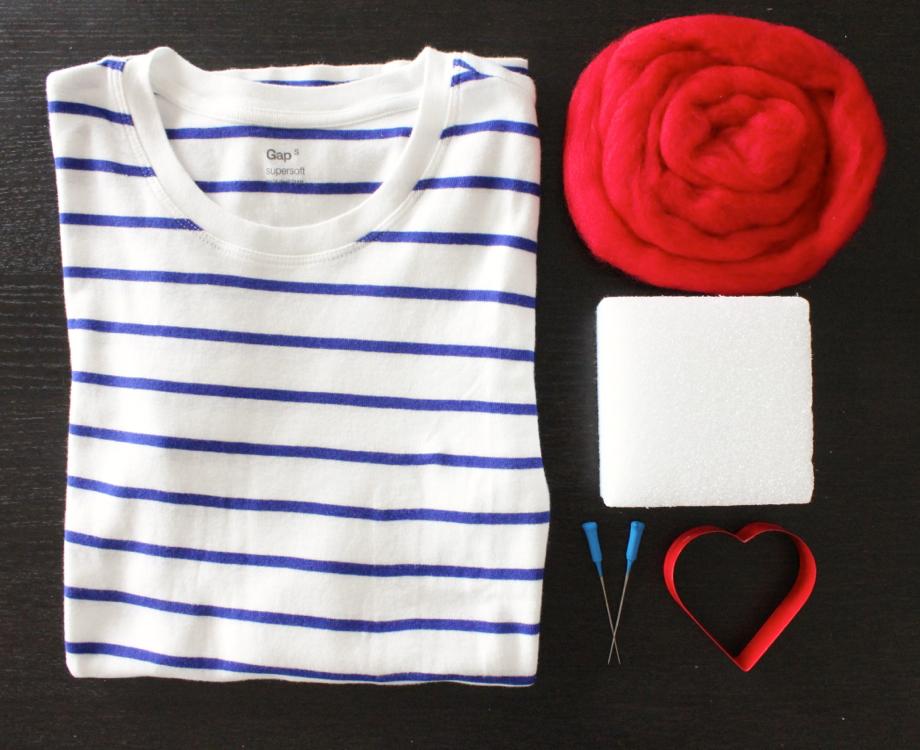 Srce od filca za majice - uradi sam: potreban materijal.