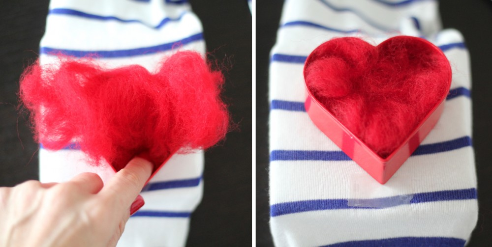Srce od filca za majicu - uradi sam: 4. korak.