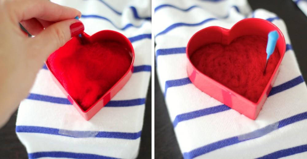 Srce od filca za majicu - uradi sam: 5. korak.