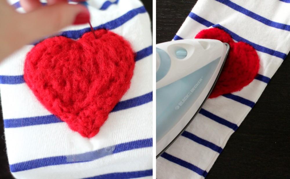 Srce od filca za majicu - uradi sam: 6. korak.