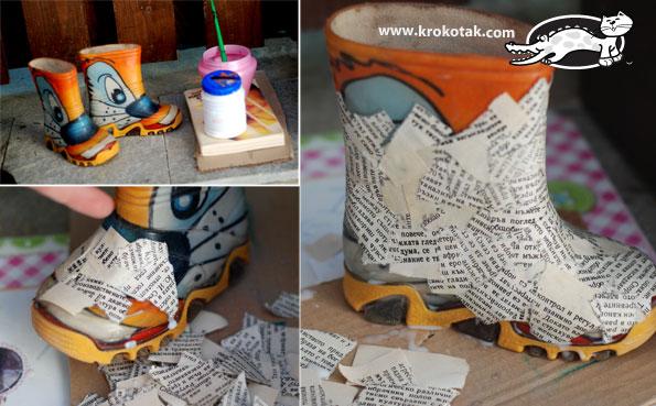 Papir maše - čizmica DIY (uradi sam): postupak izrade.