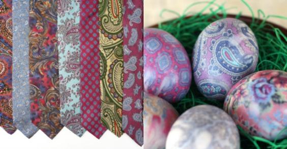 farbanje jaja svilenom kravatom