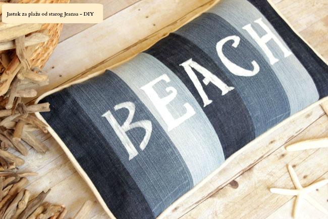 Jastuk za plažu od starog Jenasa - DIY (uradi sam).