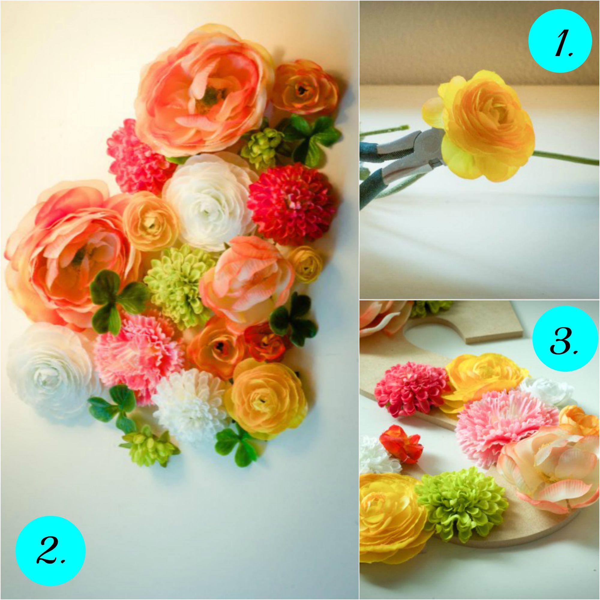 Postupak izrade: isecite drške cveća i poređajte cvetove na slova pre lepljenja.