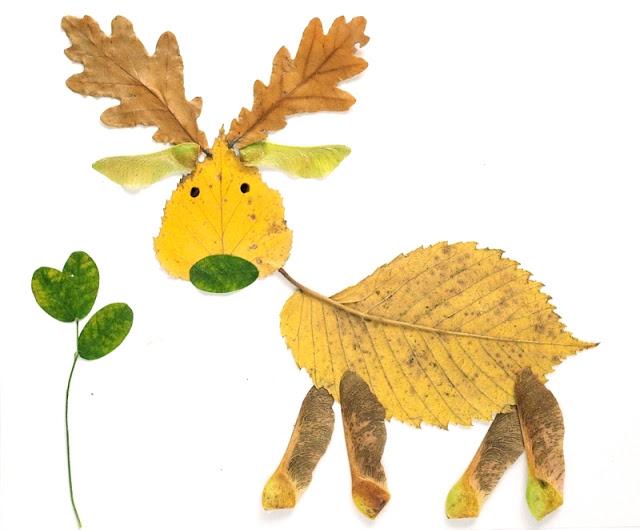 Kreativna radionica za decu od jesenjeg lišća: jelen.