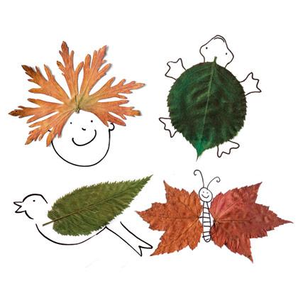 Kombinacija crtanja i lepljenja jesenjeg lišća.