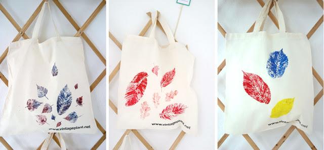 Pečati od jesenjeg lišća: platnene torbe.