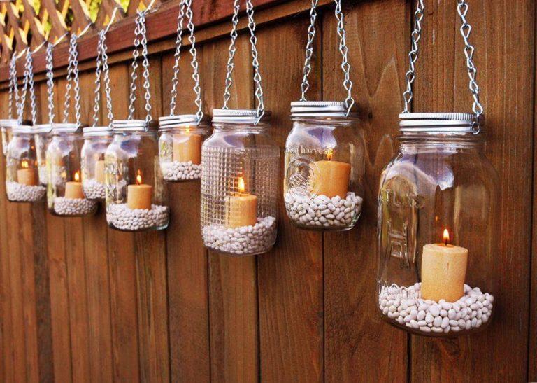 reciklaža tegli baštenski svećnjak
